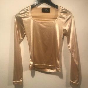 Vintage Metallic Long Sleeve Crop-like Fit Shirt